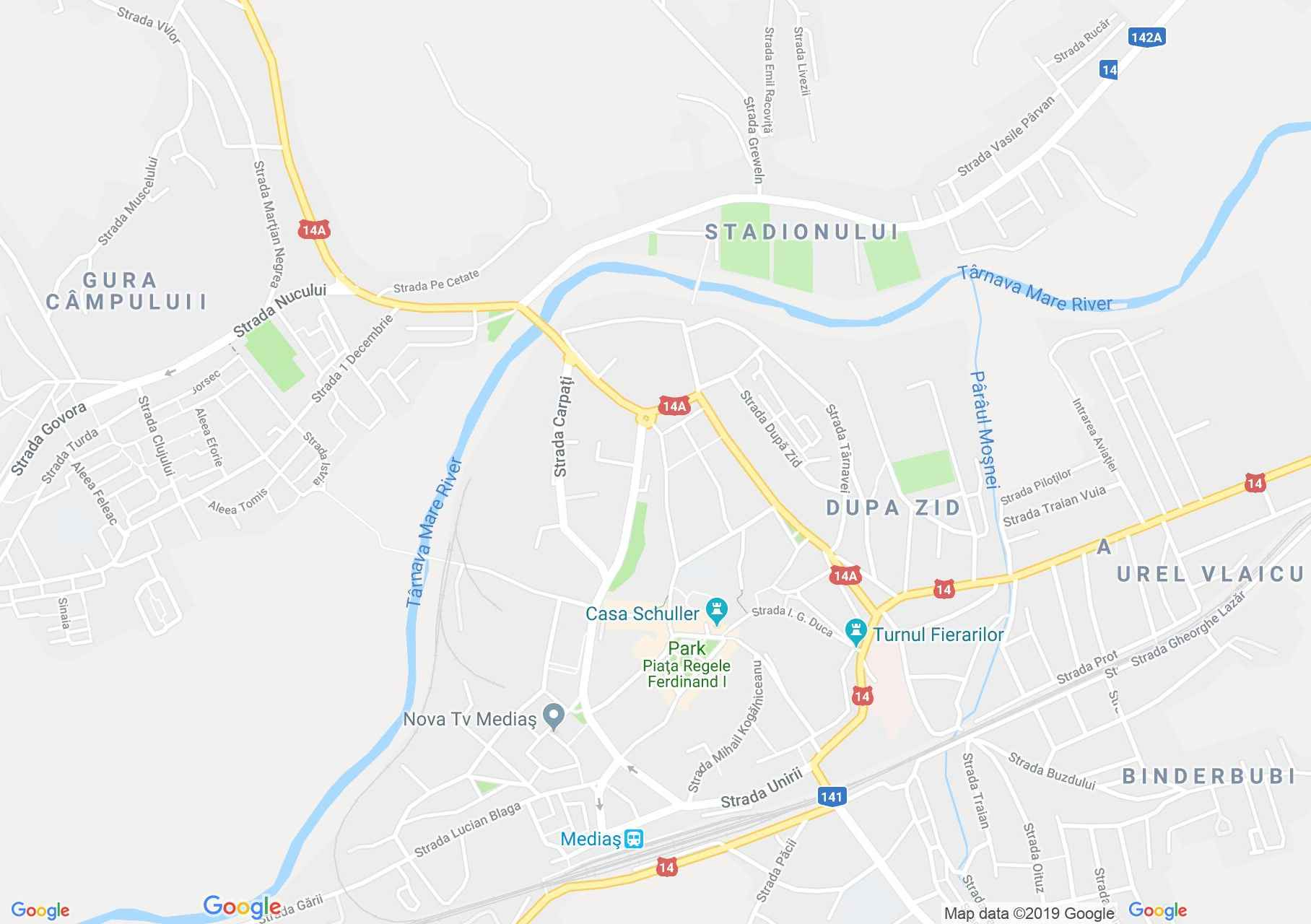 Map of Mediaş: The Schuster Gustav - Dutz house