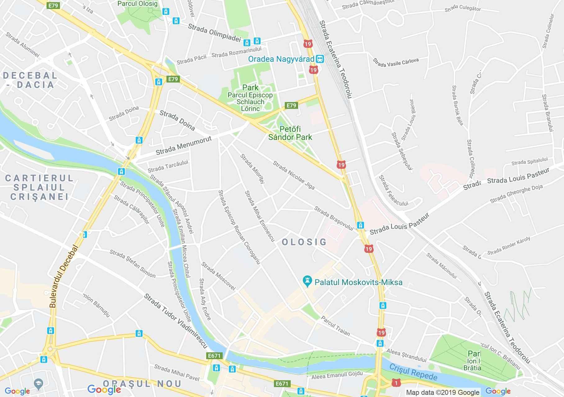 Hartă Oradea: Episcopia ortodoxă