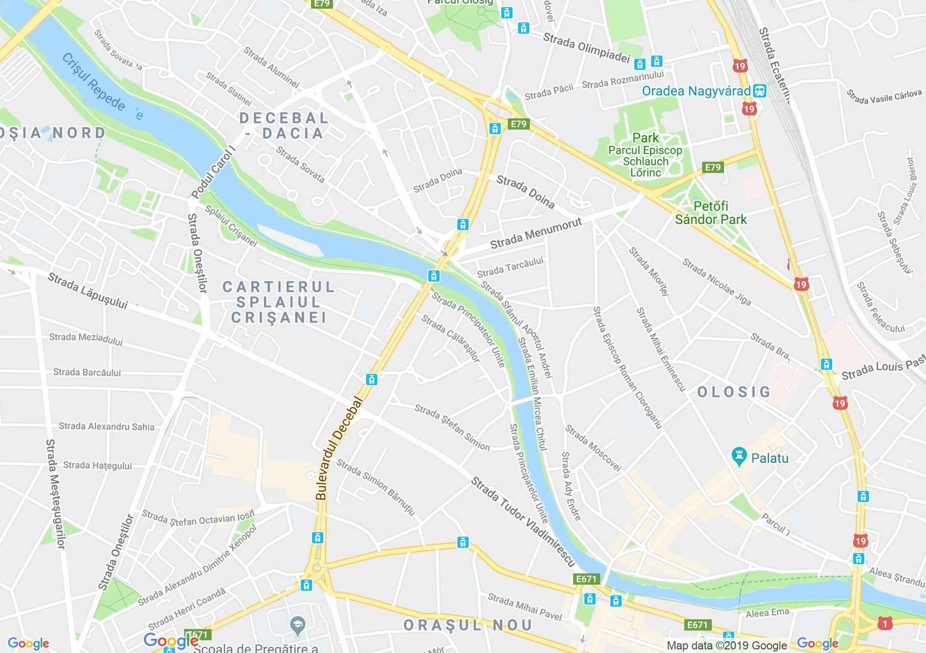Map of Oradea: PIHE hostel