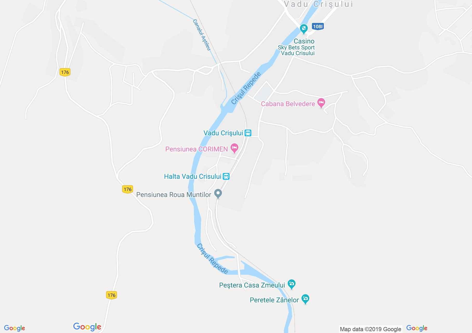 Map of Vadu Crişului: Podireu II cave