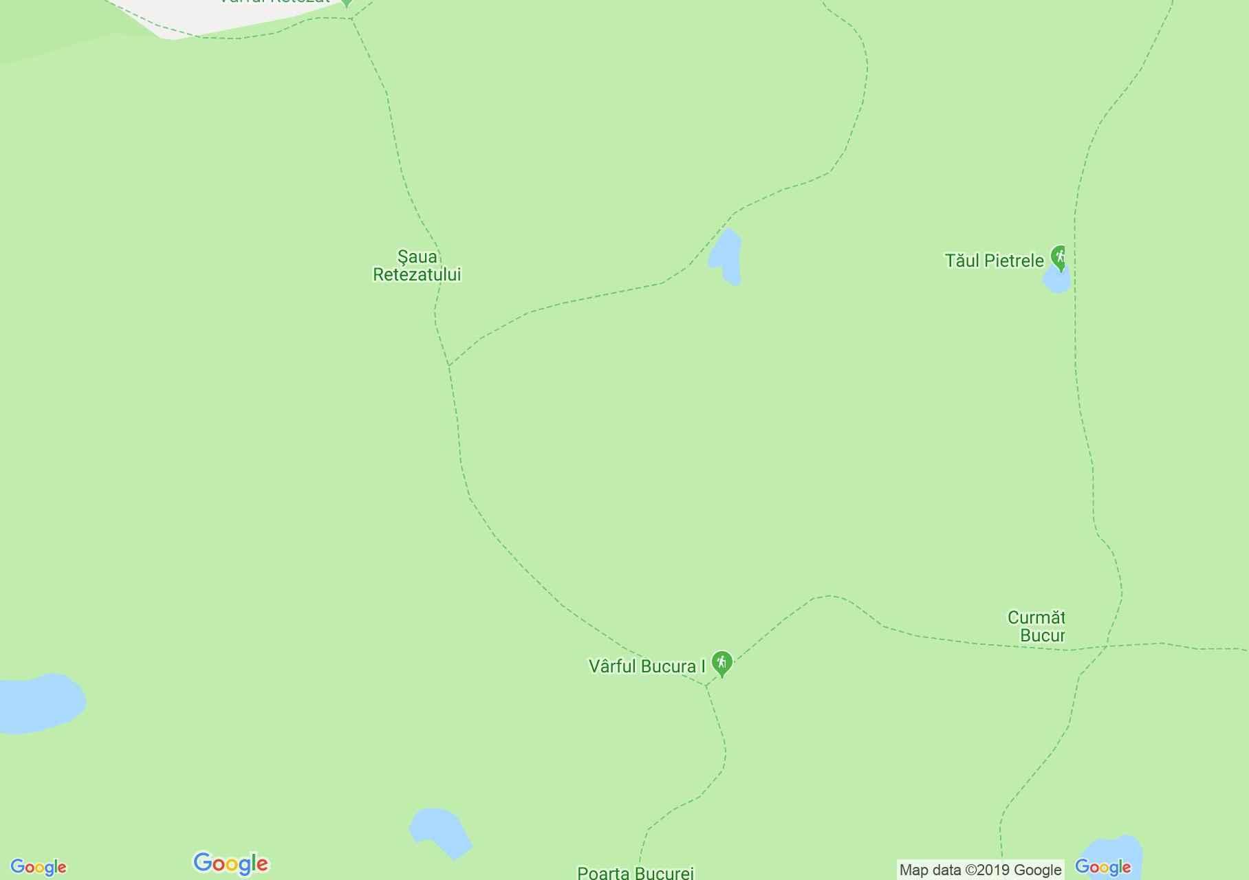 Hartă Muntii Retezat: Lacul Bucura-Vârful Retezat