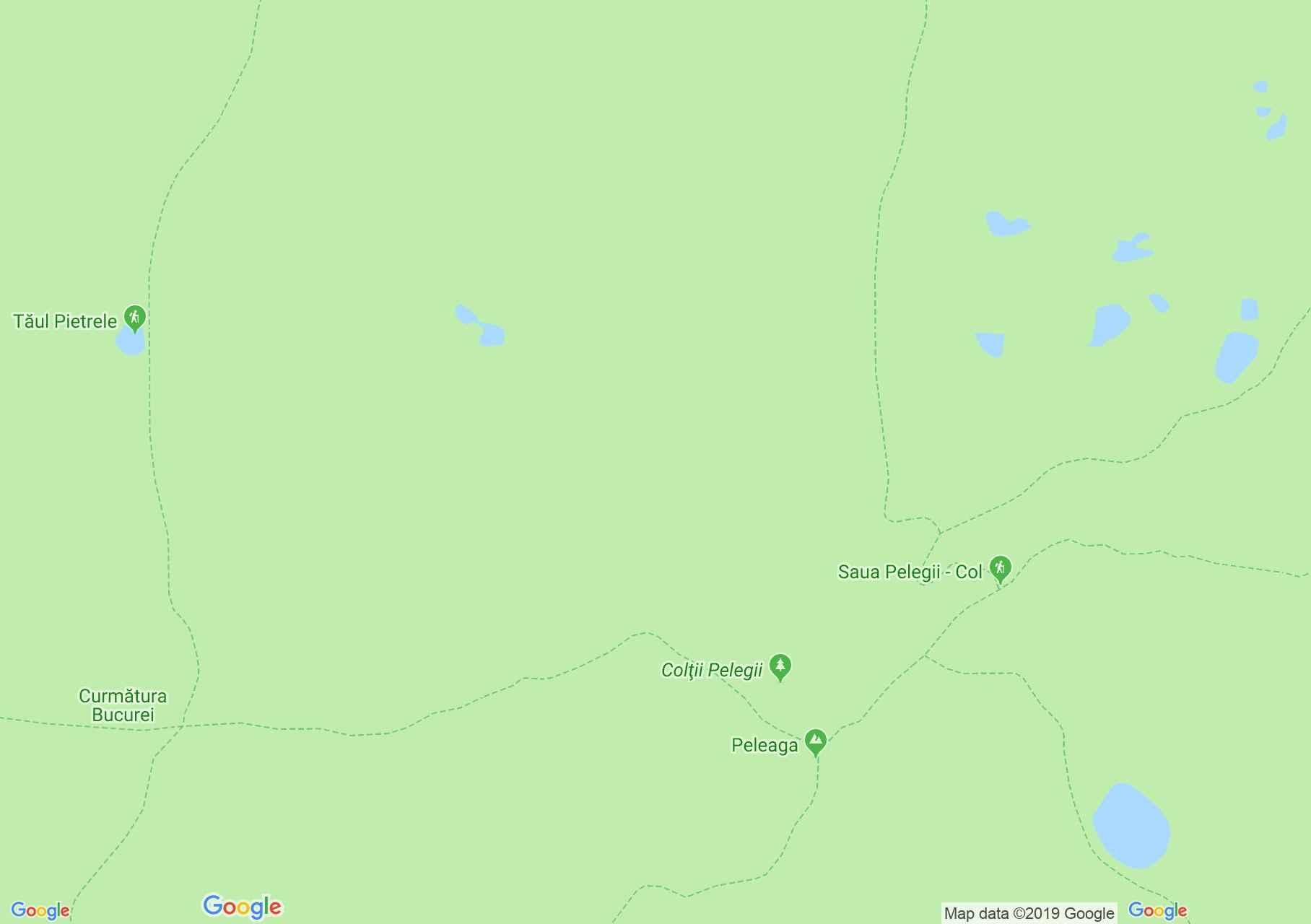 Map of Retezat mountains: Retezat peak - Peleaga saddle
