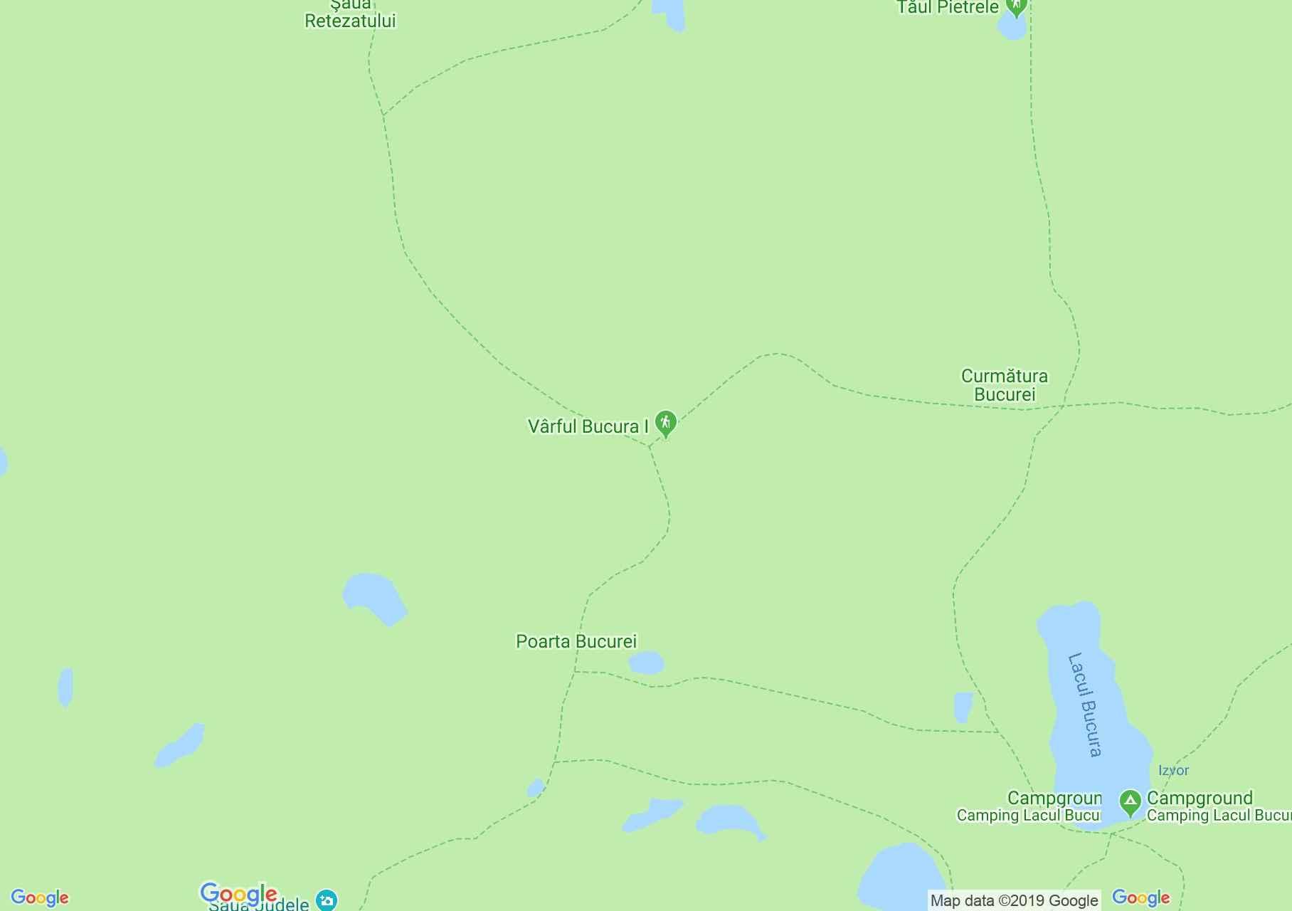Retyezát hegység: Porţii (Kapu) tó (térkép)