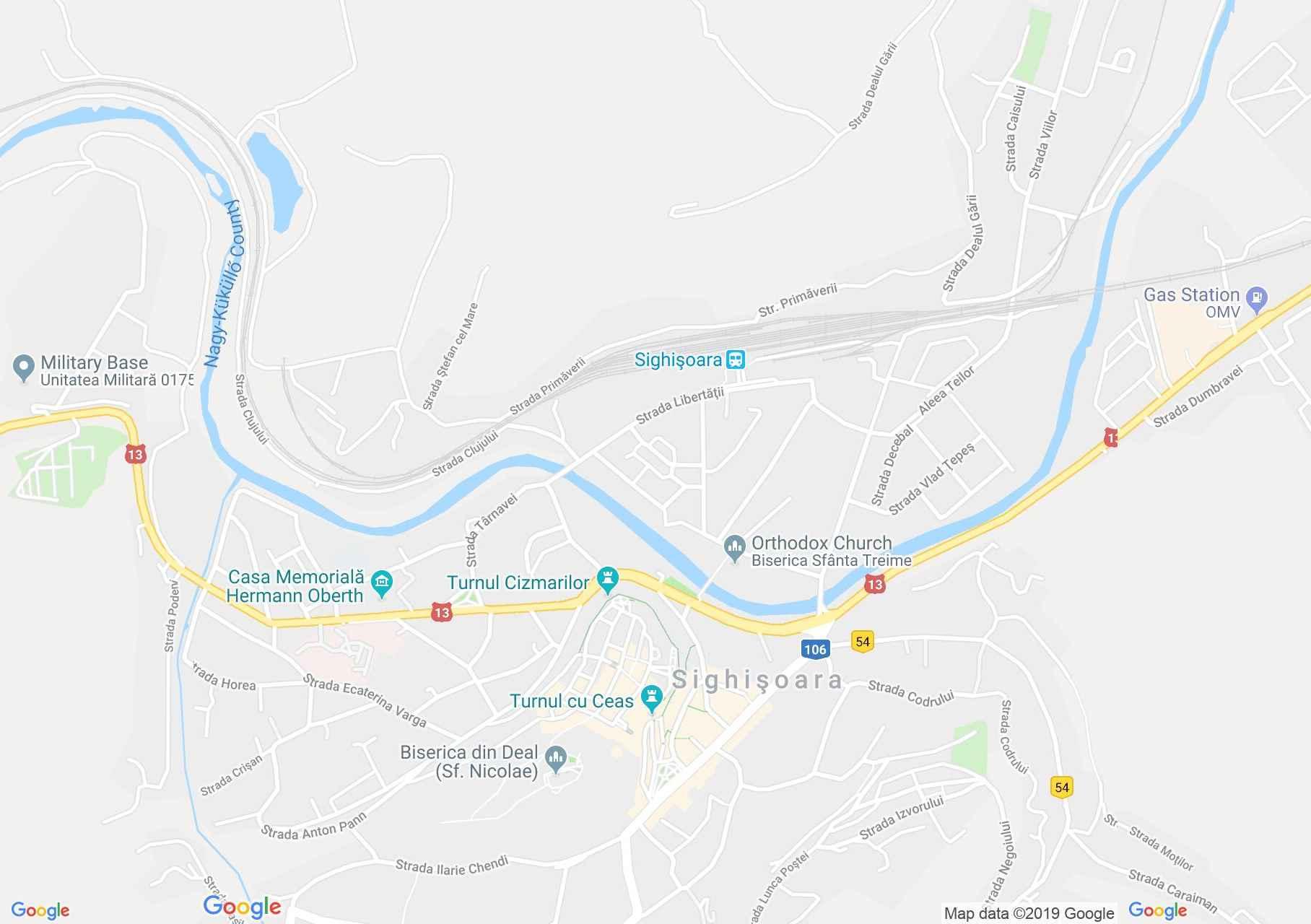 Hartă Sighişoara: Biserica Mănăstiri