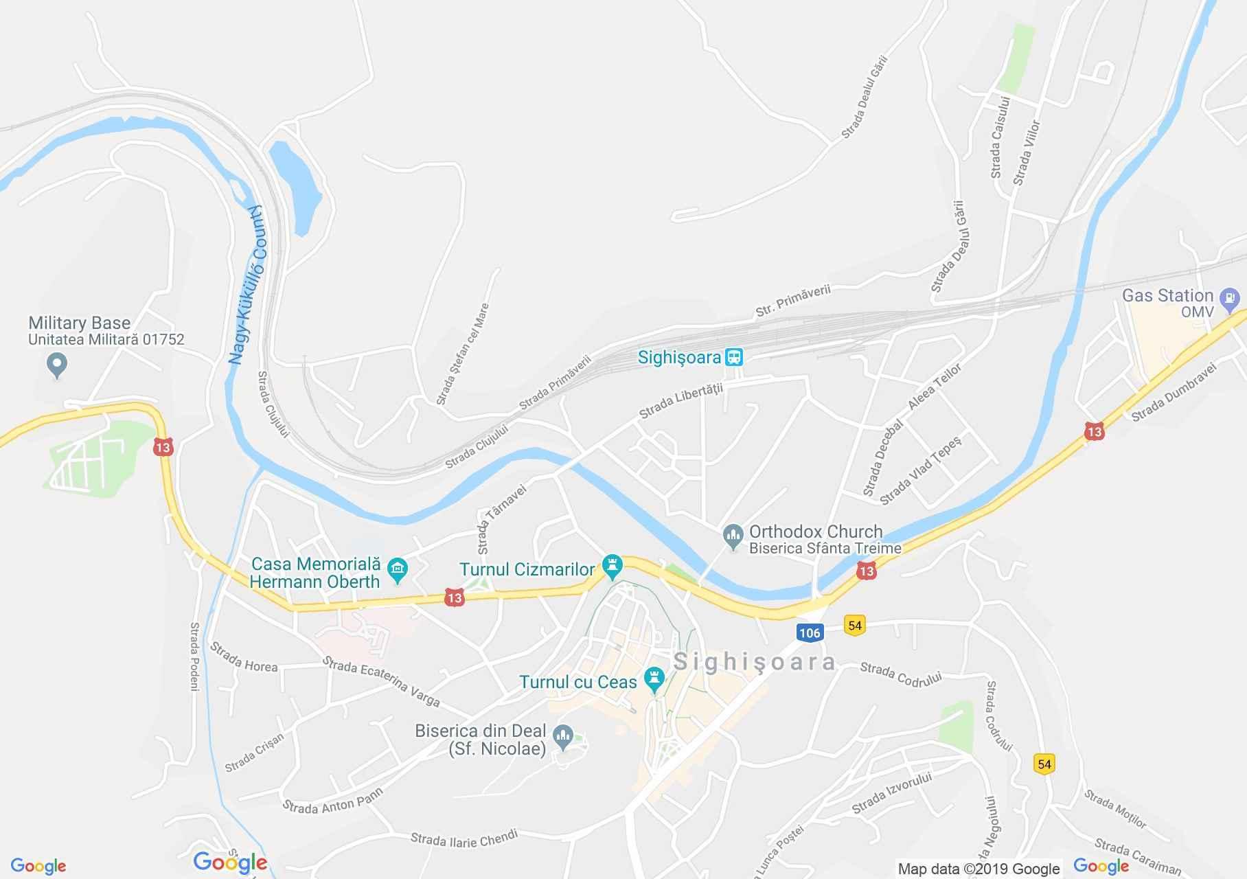 Hartă Sighişoara: Cetatea Medievală