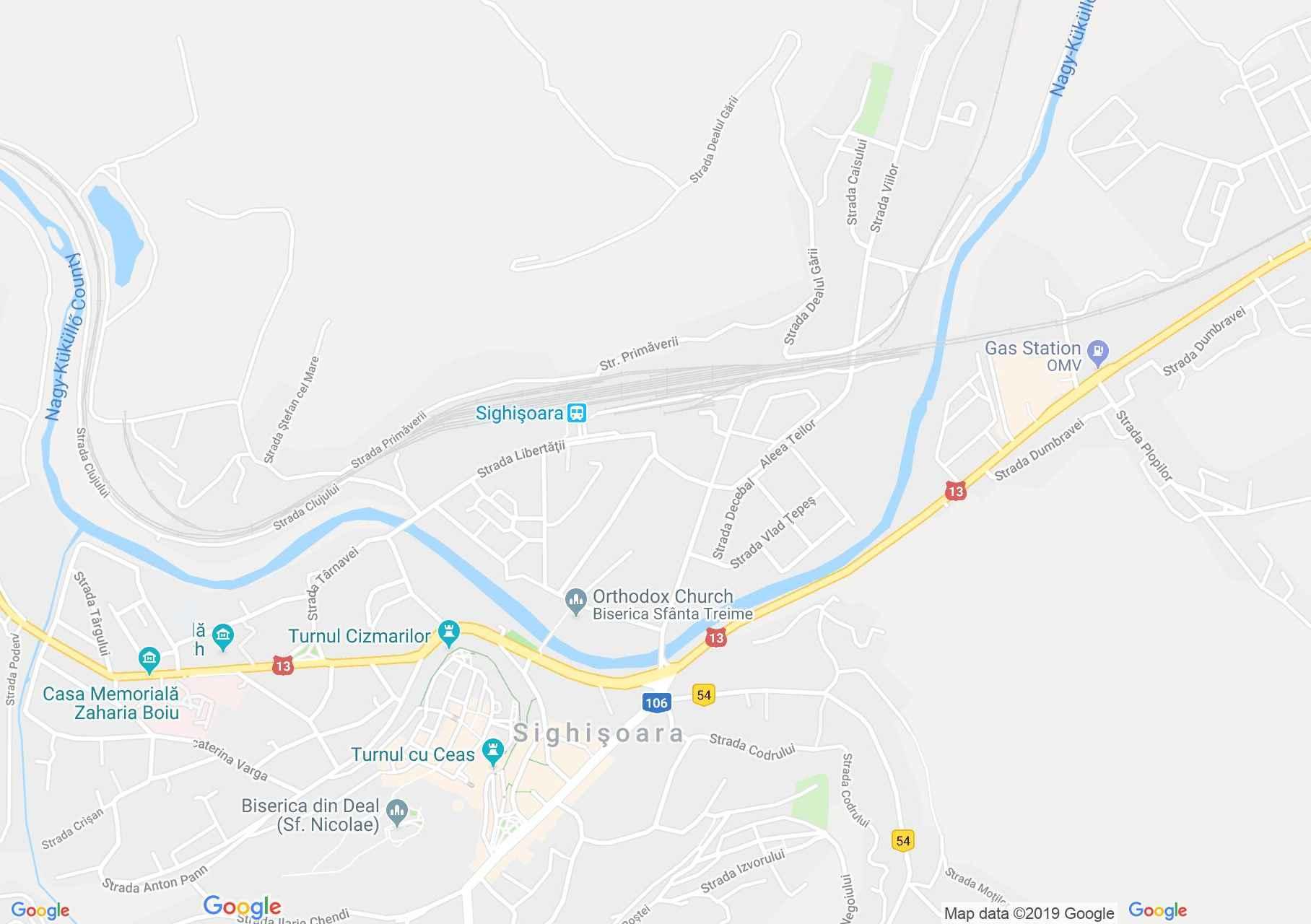 Hartă Sighişoara: Schaessburg, Segesvár - Obiective turistice, festivaluri