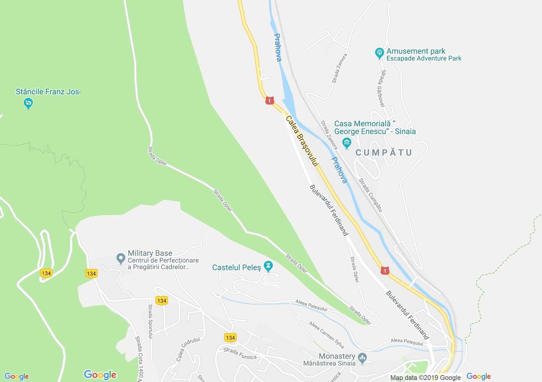 Map of Sinaia: Peles castle