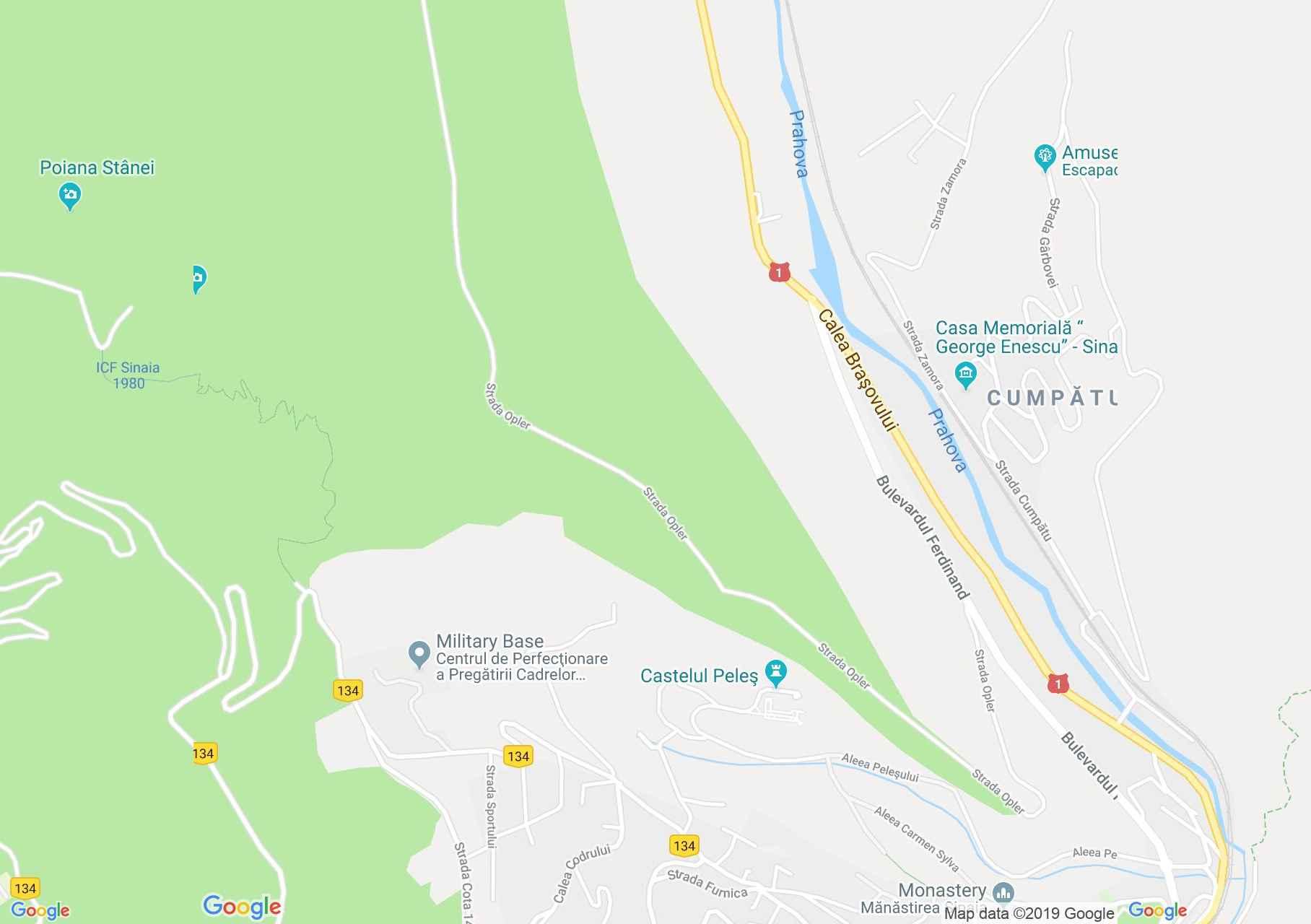 Map of Sinaia: Pelisor castle