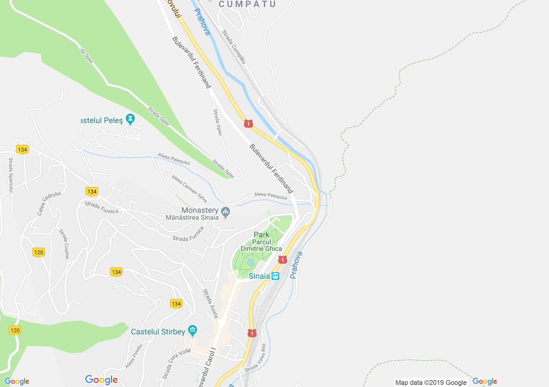 Map of Sinaia: The Royal stations