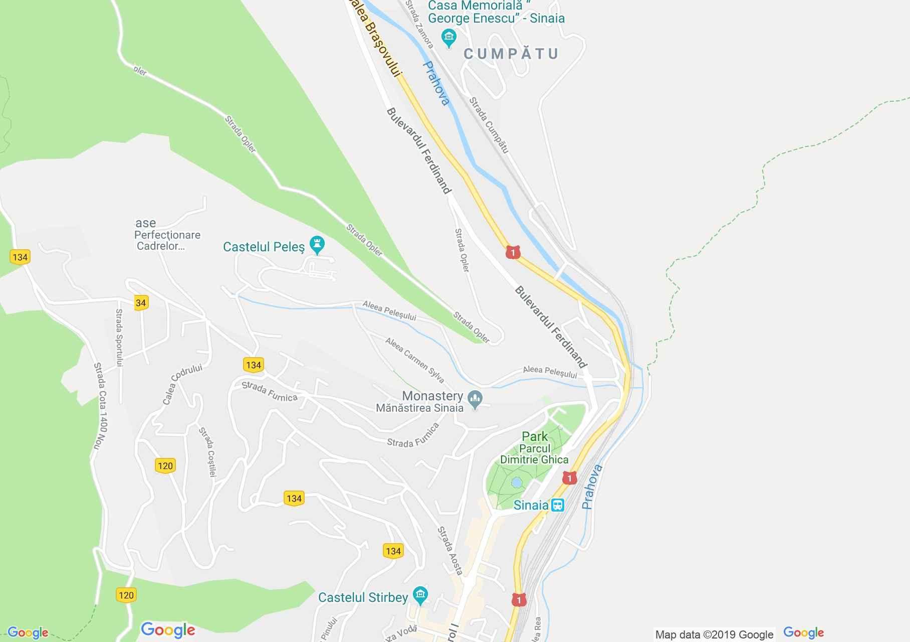 Sinaia: Argetoianu vila (térkép)