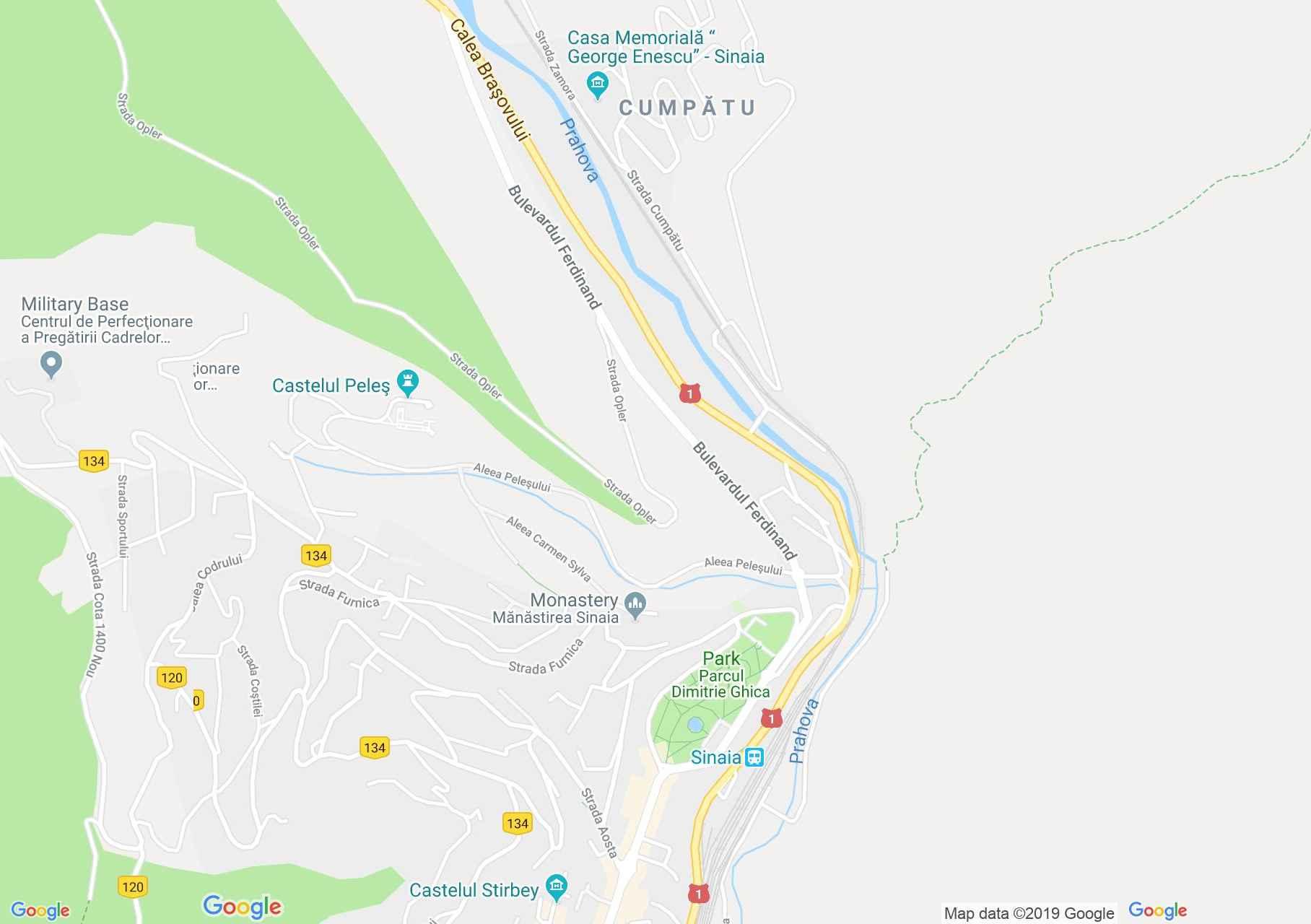 Map of Sinaia: Vila Carola, Yehudi Menuhin