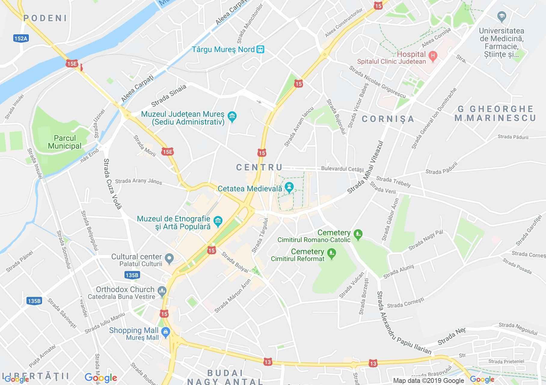 Marosvásárhely: Teleki könyvtár (térkép)