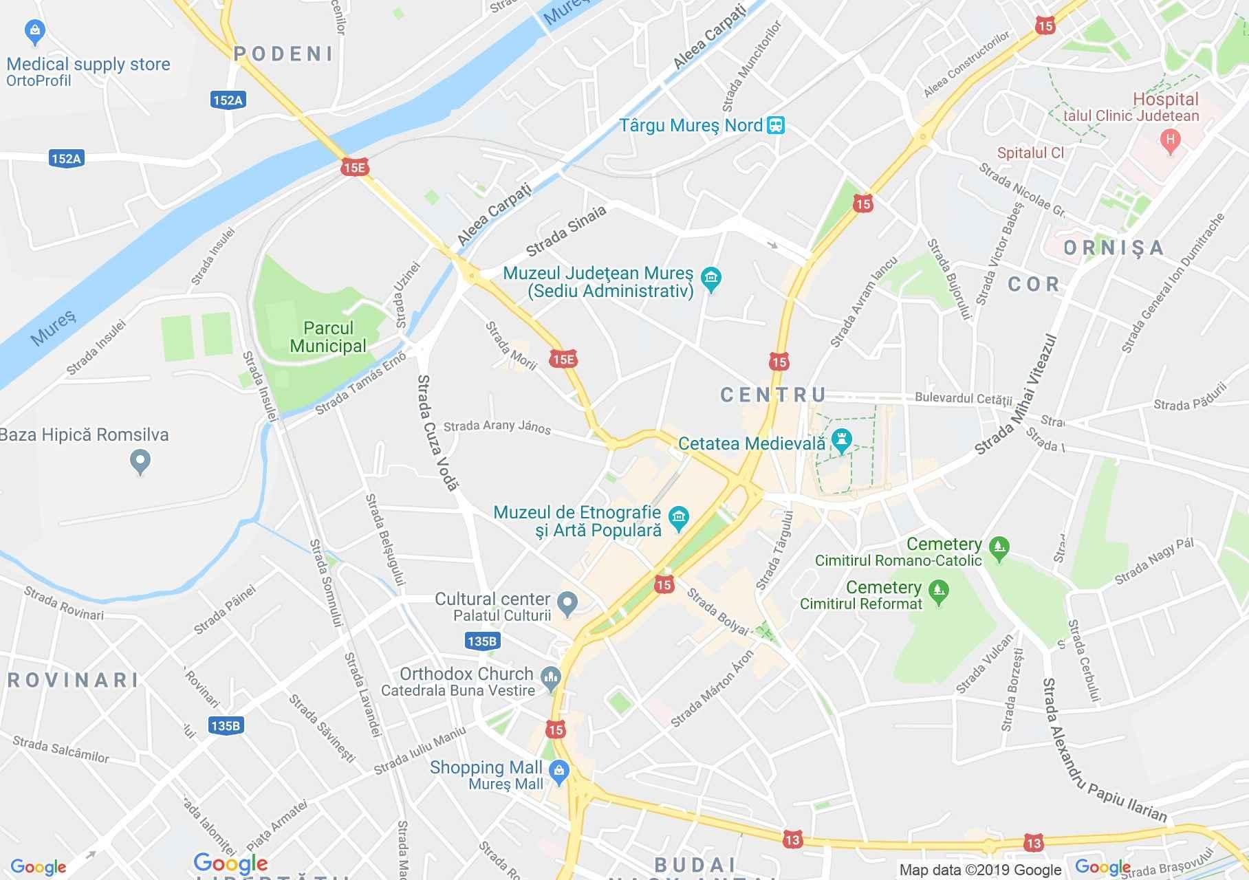 Hartă Târgu Mureş: Clădirea poliţiei