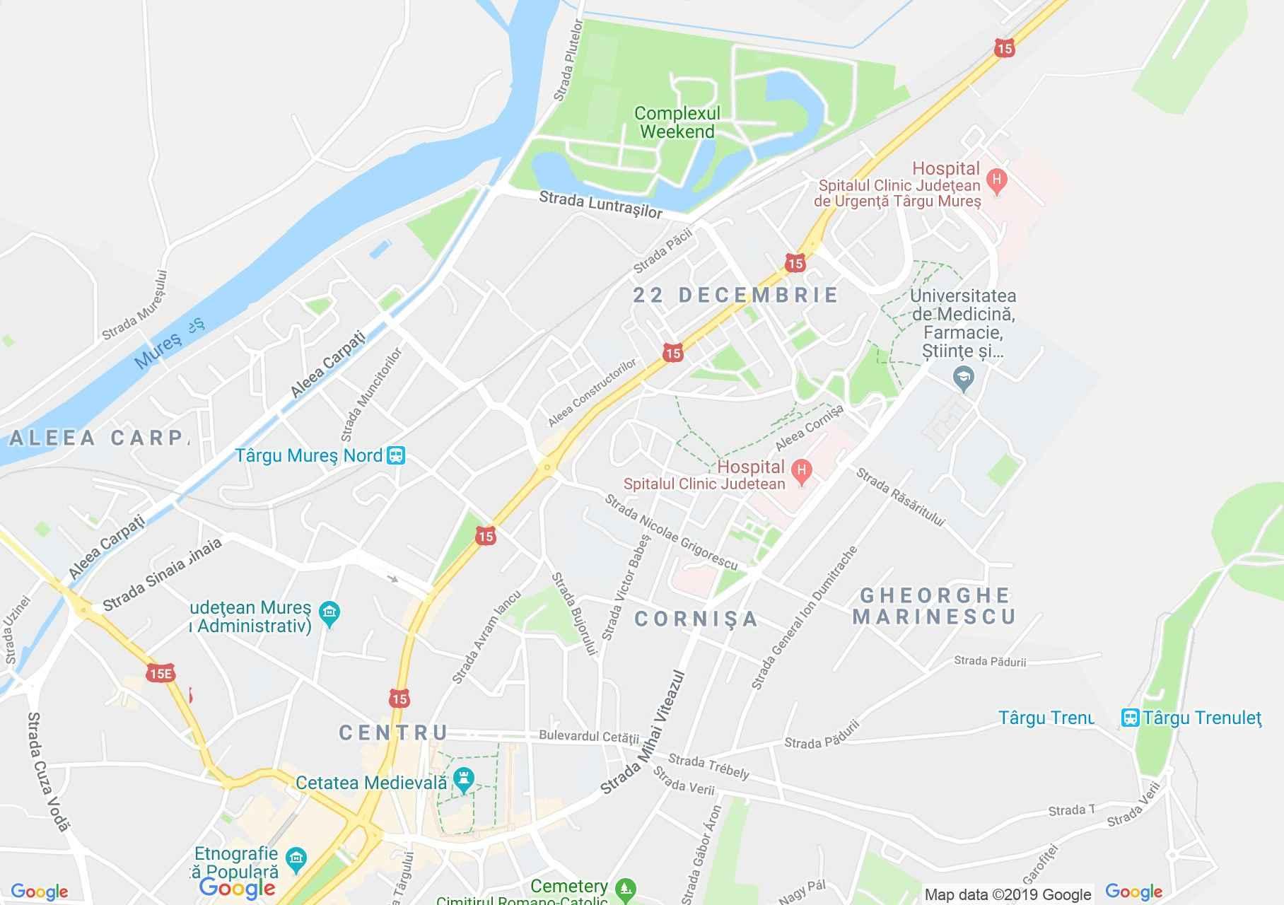 Hartă Târgu Mureş: Universitatea de medicină şi farmacie