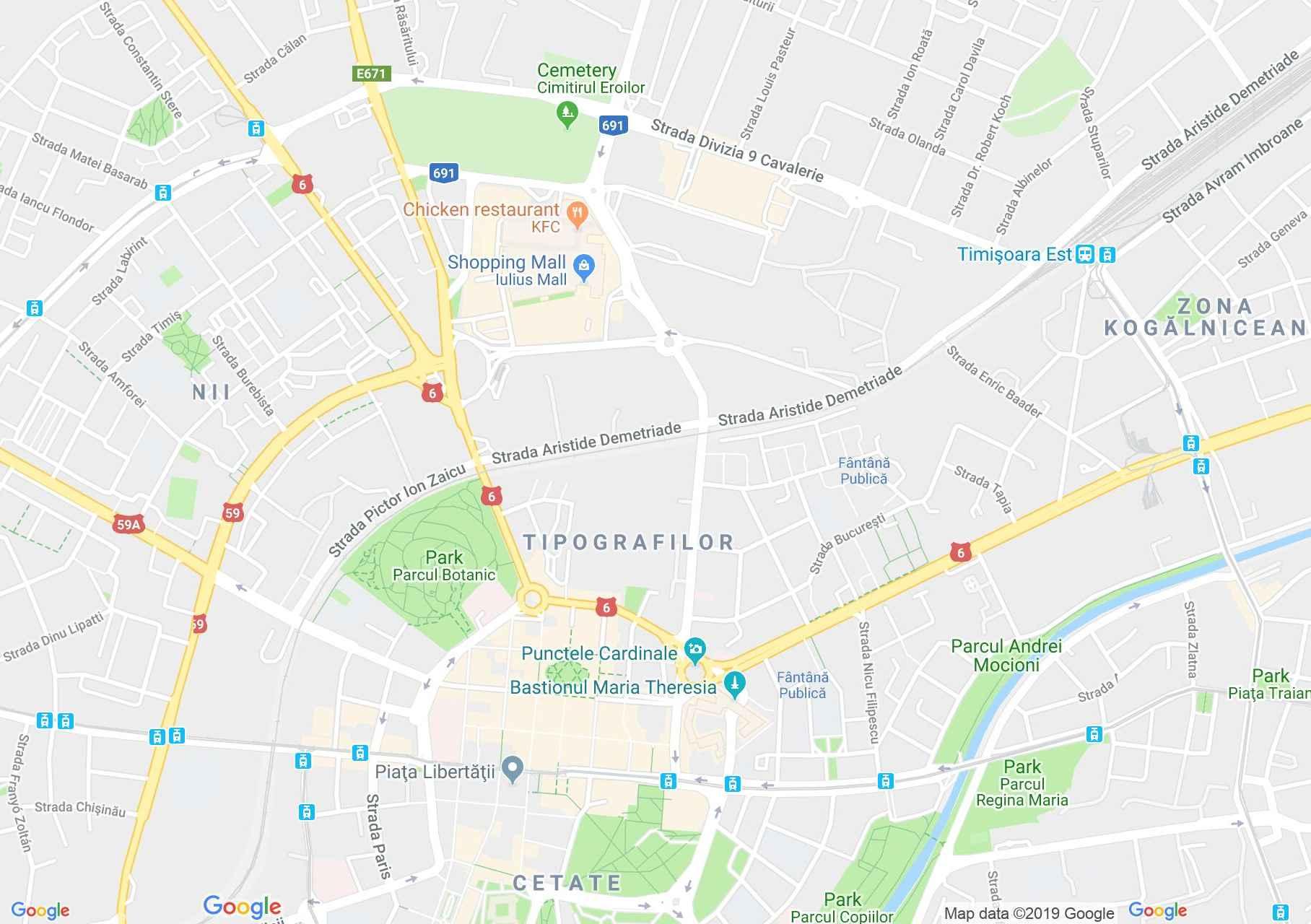 Temesvár: Az evangélikus lutheránus templom (térkép)