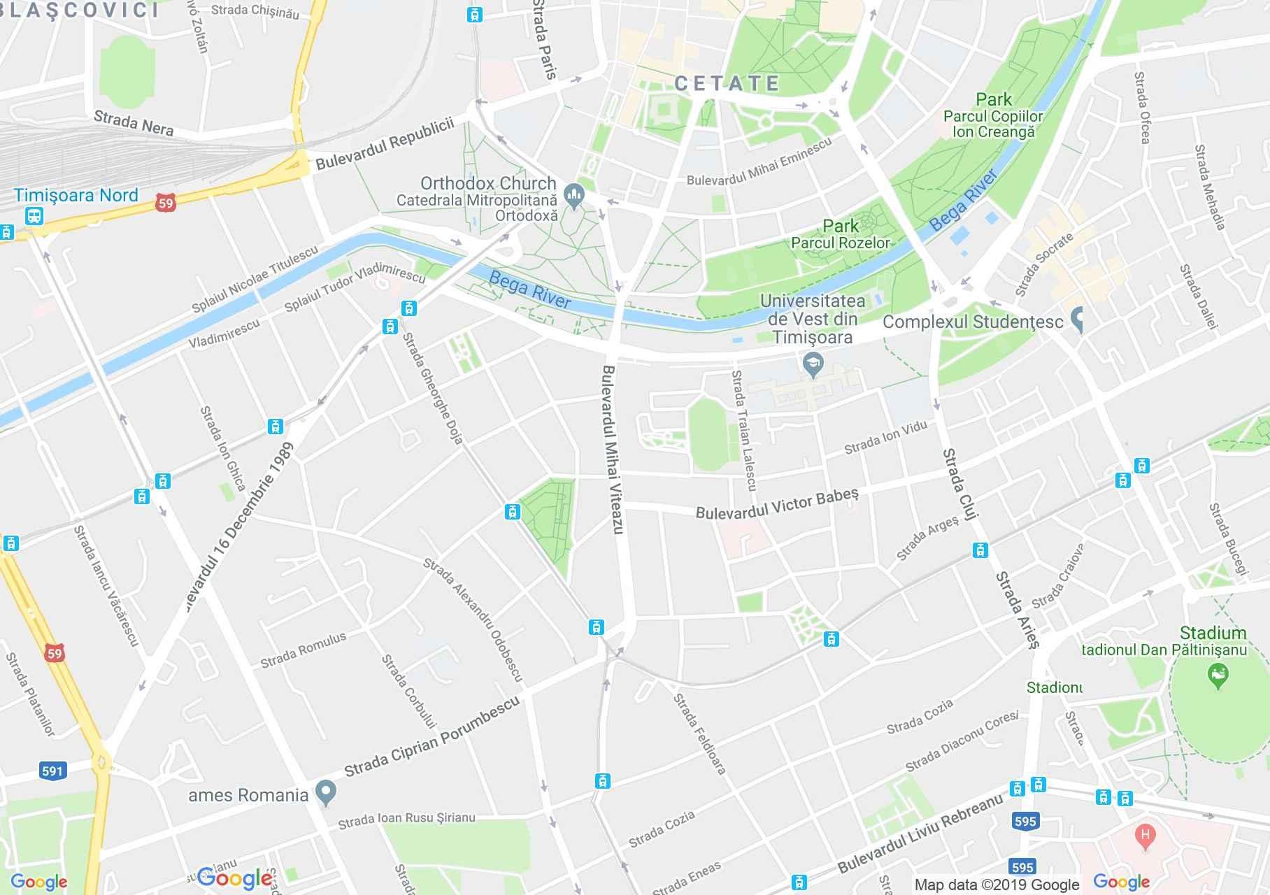 Temesvár: Az erzsébetvárosi római katolikus templom (térkép)
