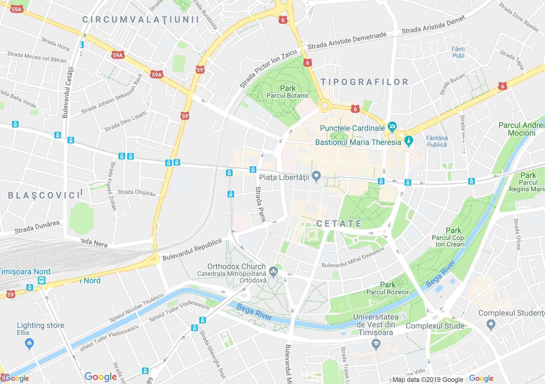 Temesvár: Ortodox főszékesegyház (térkép)