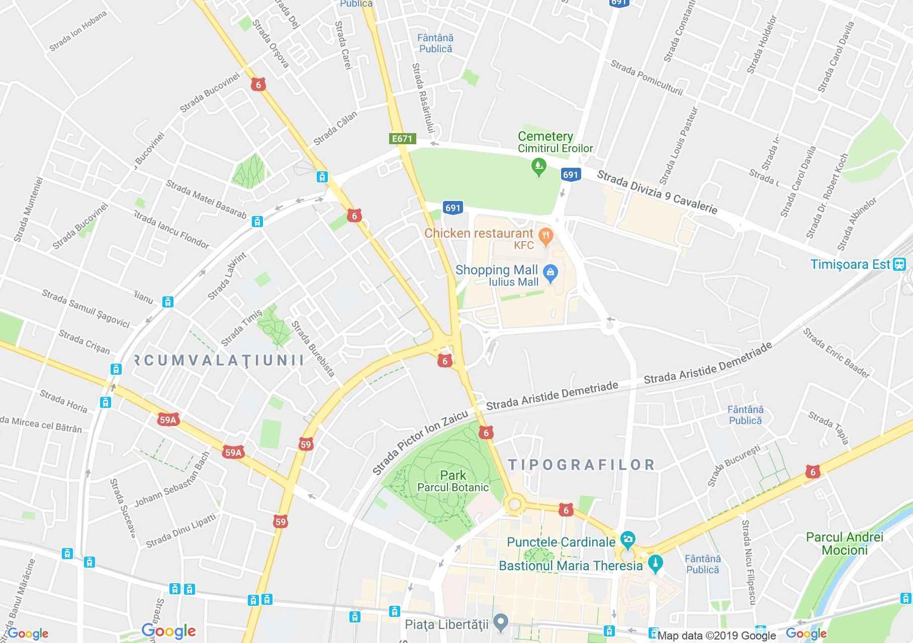 Temesvár: Botanikus park (térkép)