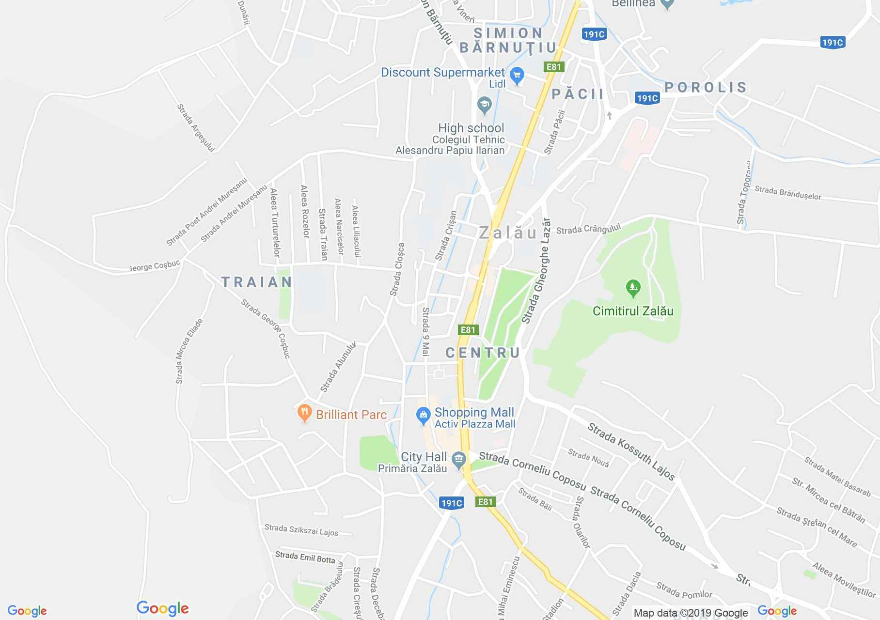 Map of Zalău: Reformed high school